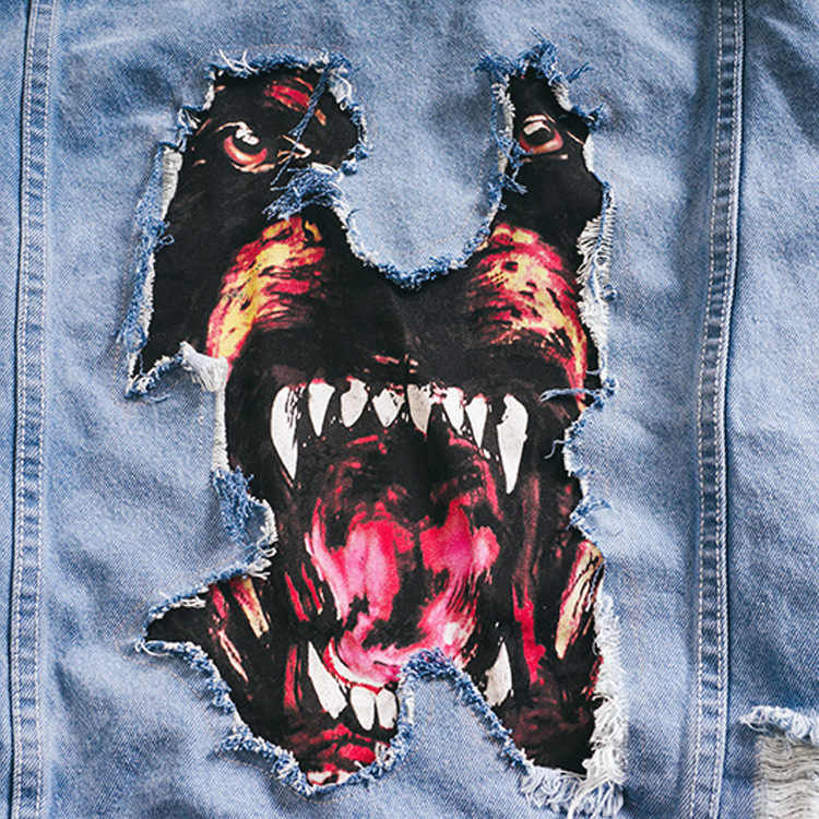 671adcdf9e59 ... 2018 Brand Casual Jeans Jacket Men Dog Head Printed Stand-Neck Designer  Clothes High- ...