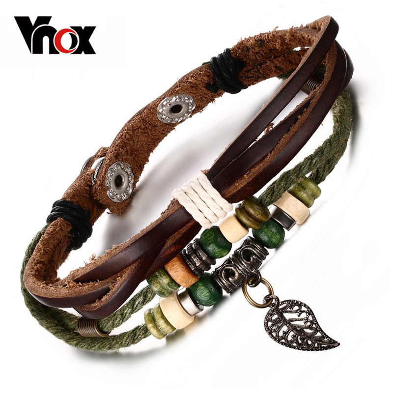 Vnox Brown Genuine Leather Bracelet Men's Bangle Stainless Steel Fashion Retro Charm Jewelry for Women