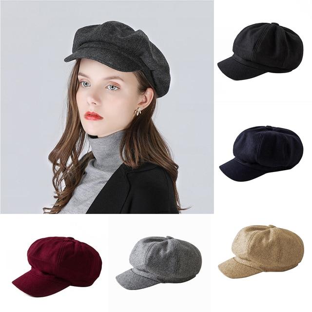 Invierno otoño cálido Baret Cap moda mujeres Vintage lana Boina sombrero  francés artista gorras mujeres Color 1bcda0ba9d3