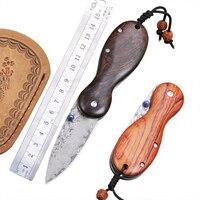Damascus Edc Folding Knife Survival Tactical Pocket Mini Folding Knife Wood Blade Steel Titanium Hunting Knives Keychain Knife