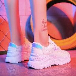 Women Casual Shoes 2018 Autumn Mesh Women Shoes Flats Platform Lace-Up Fashion Breathable Women Sneakers