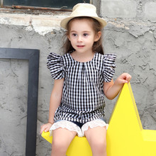 Kids Girls Clothes Summer 2019 New Black and White BabyTops Flying Sleeve Cotton Childrens Clothing