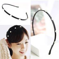 1 шт. Новое поступление 2018 года корейский аксессуары для волос Черный повязка ручной работы простой имитация жемчуга обувь девоче