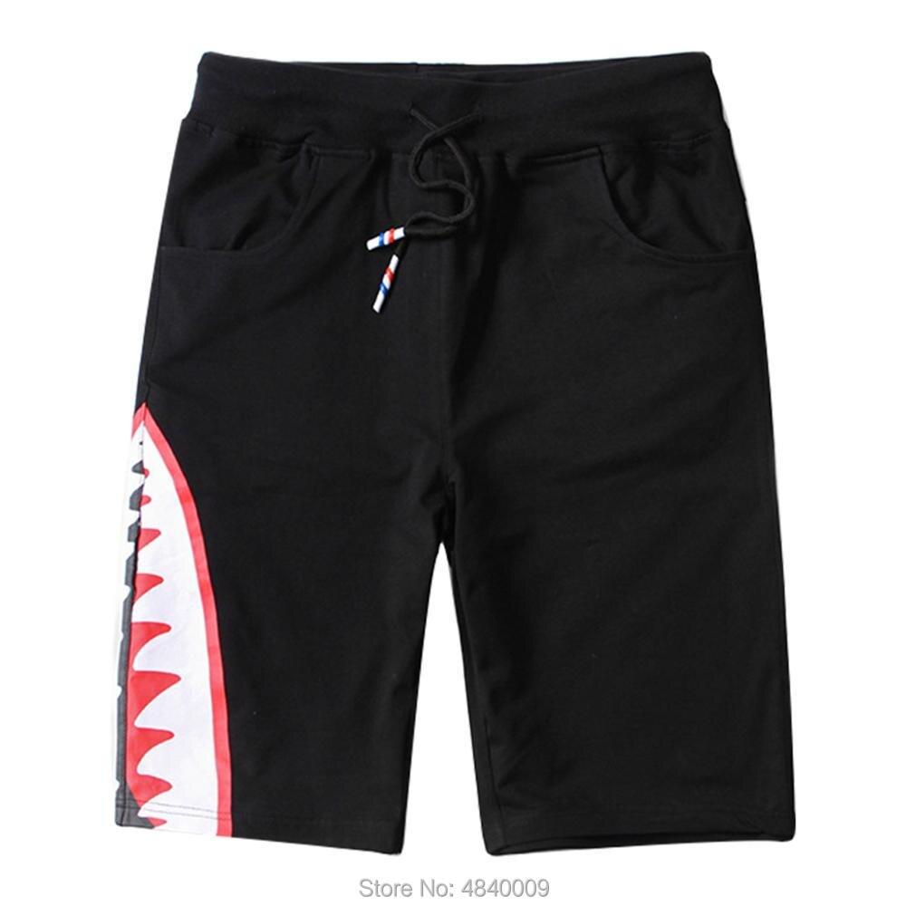 Creatorzwz Mens Casual Evil Shark Shorts Loose Sport Shorts Streetwear Gym Shorts For Youth