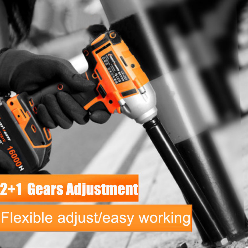 Cordless Electric Impact Wrench Drill Adjustable Gear 280N/m 20V 12000mah Battery Lithium-ion Brushless Power Tool 1/2 TorqueCordless Electric Impact Wrench Drill Adjustable Gear 280N/m 20V 12000mah Battery Lithium-ion Brushless Power Tool 1/2 Torque