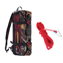 цена на 0.47'' 32.8ft Red Safety Outdoor Climbing Rescue Rope Cord + Camouflage Rope Storage Bag Case