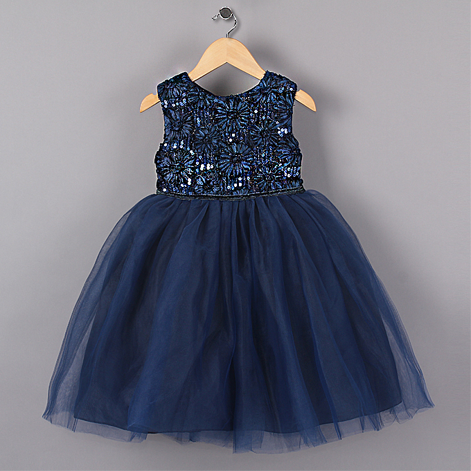 Nye Blå Prinsesse Girl Party Kjoler Blomst Sequined Tutu Style Wedding Dress til jenter jenter klær 3-7 år