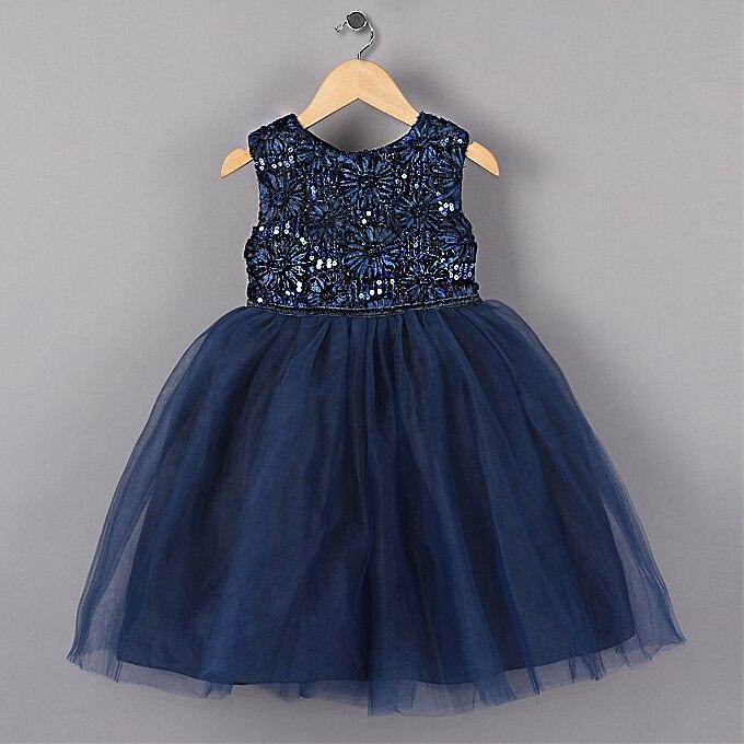 557a7729c4e Nouveau Bleu Princesse Party Girl Robes Fleur Paillettes Tutu style De Mariage  Robe pour Noël filles vêtements 3-7 ans