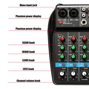 Image 4 - TU04 BT 사운드 믹싱 콘솔 레코드 48V 팬텀 파워 모니터 AUX 경로 플러스 효과 4 채널 usb가있는 오디오 믹서