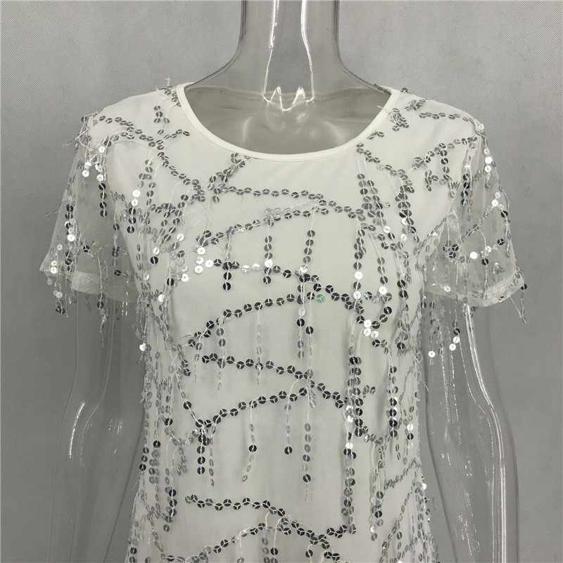 08bfc73e ... Tassels Sequin Tshirt Dress Casual Short Sleeve Round Neck Ladies  Dresses Women Birthday Outfits Summer Chic