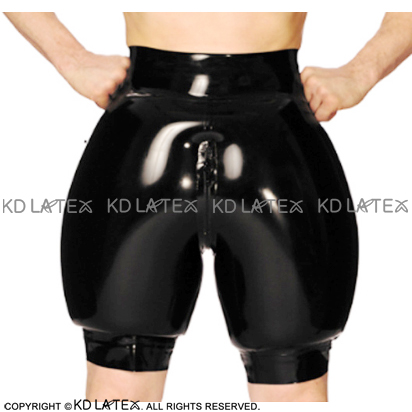 Latex Boxer Shorts Underwear Zipper Sexy Inflatable Pants Black with Front Rubber Boy