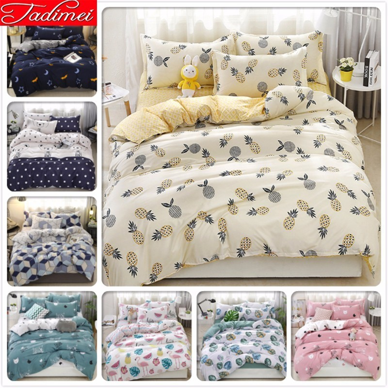 New Fashion 3/4 Pcs Bedding Set Adult Kids Duvet Cover Bed Linen Single Full Queen King Size Bedspreads 150x200 180x220 200x230