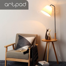 Artpad Modern Farbic Lampshade Floor Lamp with Wood Table Nordic Standard E27 Foyer Study Bedroom Hotel Lighting Fixture