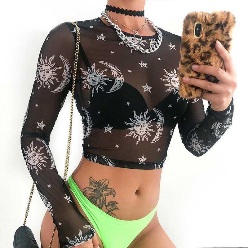 ใหม่ 2019 ผู้หญิงเซ็กซี่ SHEER ตาข่ายกามเทพ TEE Sun Moon พิมพ์แขนยาว Slim Crop Tops Crow คอโปร่งใส TEE TOP