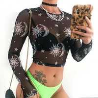 New 2019 Sexy Women Sheer Mesh Cupid Tee Sun Moon Print Long Sleeve Slim Crop Tops Crow Neck Transparent Tee Top