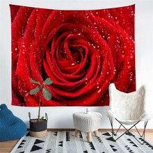 HELENGILI Home Furnishing Flowers rose Tapestry Wall Hanging Sandy Beach Picnic Throw Rug Blanket Camping Tent Sleeping Pad