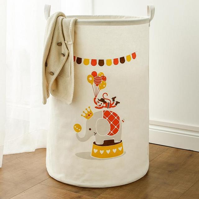 Large Cartoon Storage Bucket Cotton Linen Folding Home Toy Clothes Sundries Storage Basket