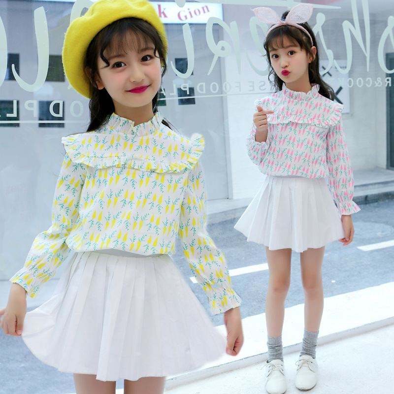 Girls shirt 2019 spring and autumn new cotton sweet lace print jacket wooden ear long sleeve children 39 s clothing in Blouses amp Shirts from Mother amp Kids