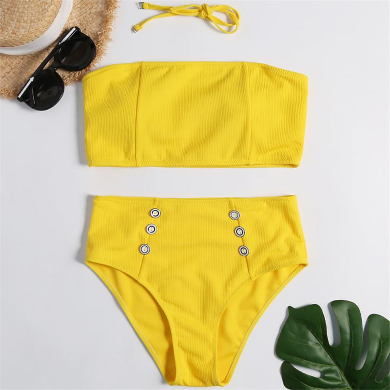 715e1f6f38b1fb Bikinx Ribbed yellow swimsuit female separate 2019 Button bandeau bikini  set High waist plus size swimwear