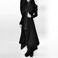 Women Back High Low Trench Coat Long Ladies Tops Overcoat Womens Outerwear