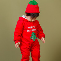 Hot Baby Christmas costumes Cotton baby rompers with hooded Christmas tree elk red romper baby clothes