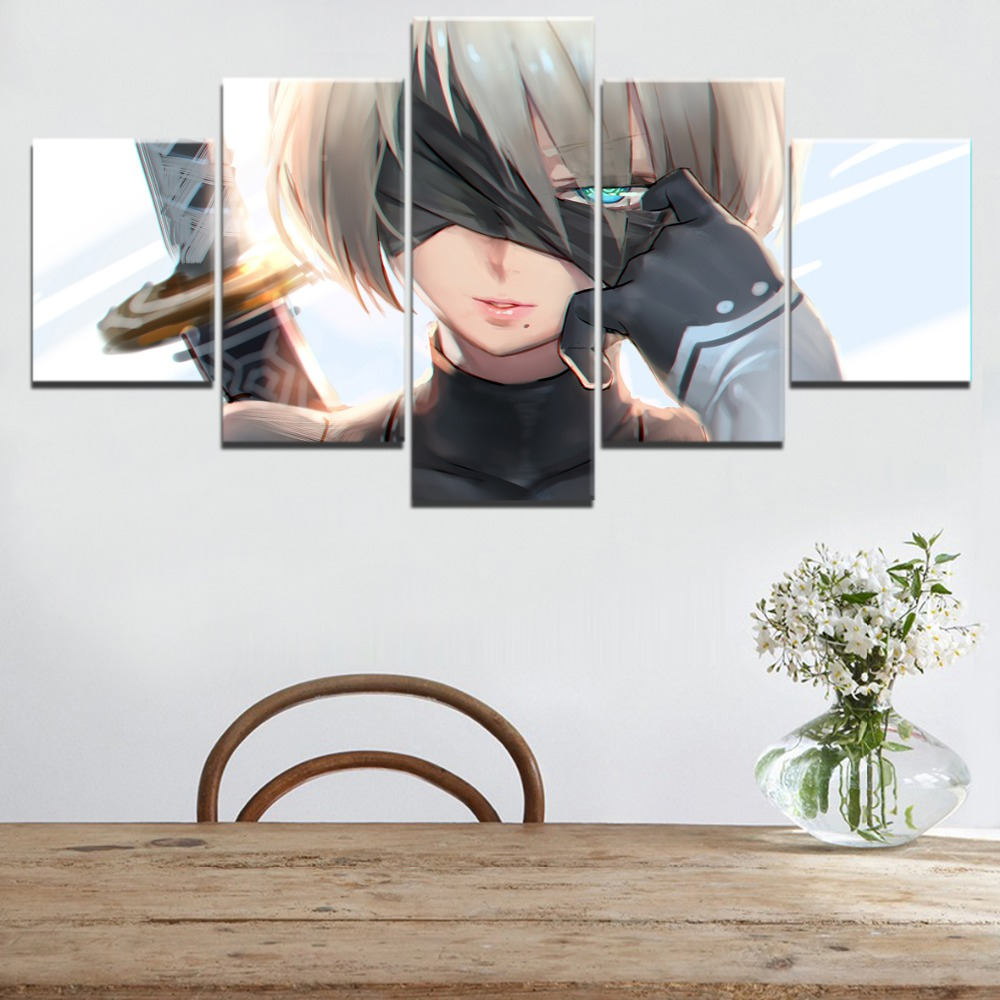 Modern Painting 5 Pieces NieR Automata YoRHa No2 Type B Poster Modular Framework High Quality Canvas Printed Wall Art Decorative