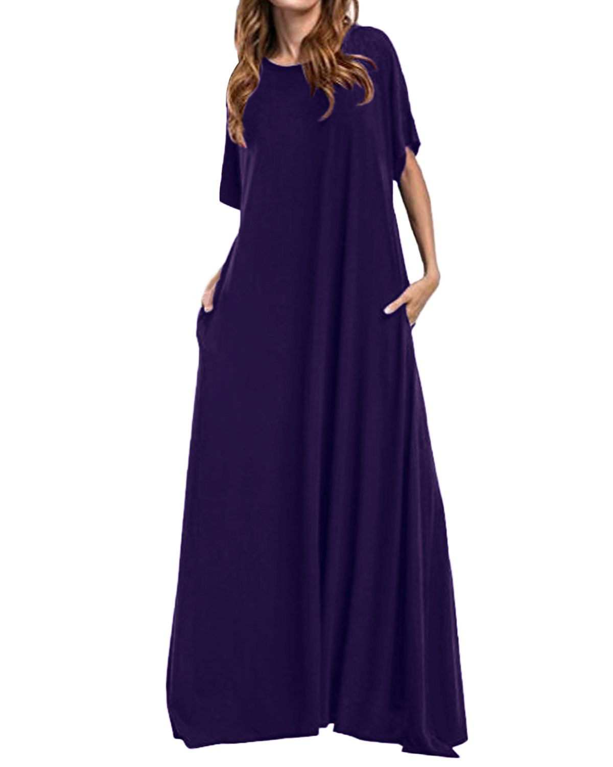Women Half Sleeve Solid Round Neck Long Maxi Dress ZANZEA 2019 Casual Loose Long Elegant Robe Bodycon Dresses Vestidos Plus Size 1