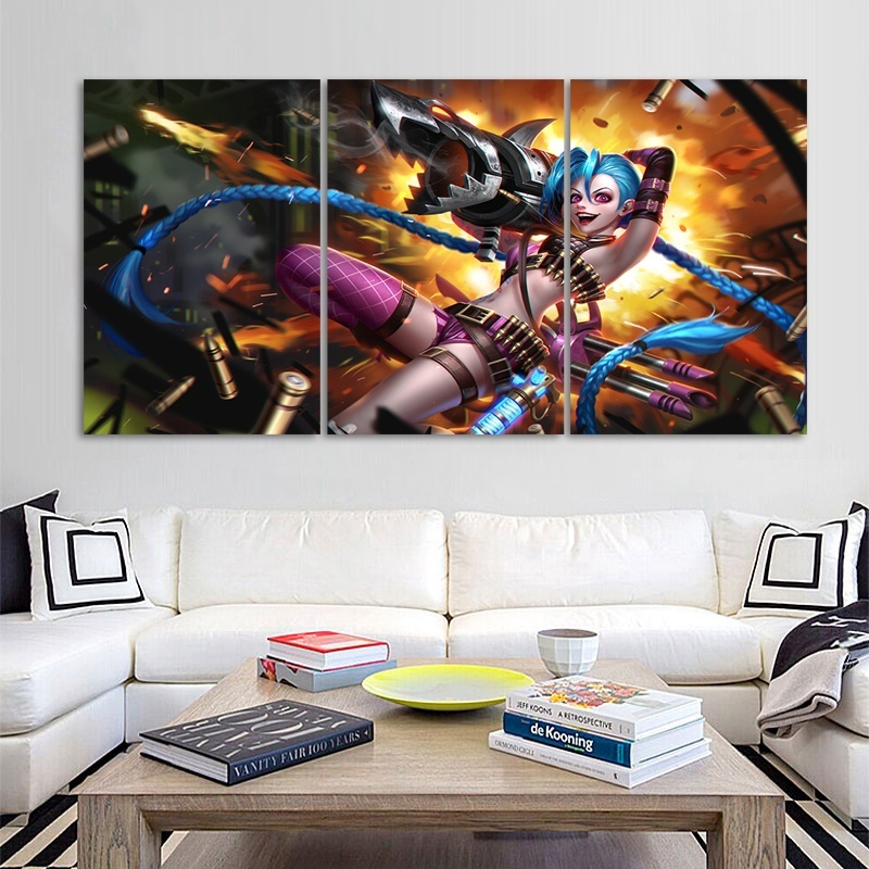 3 Pieces Video League of Legends Game Poster League of Legends Character Poster Picture Oil Painting Wall Decor in Painting Calligraphy from Home Garden