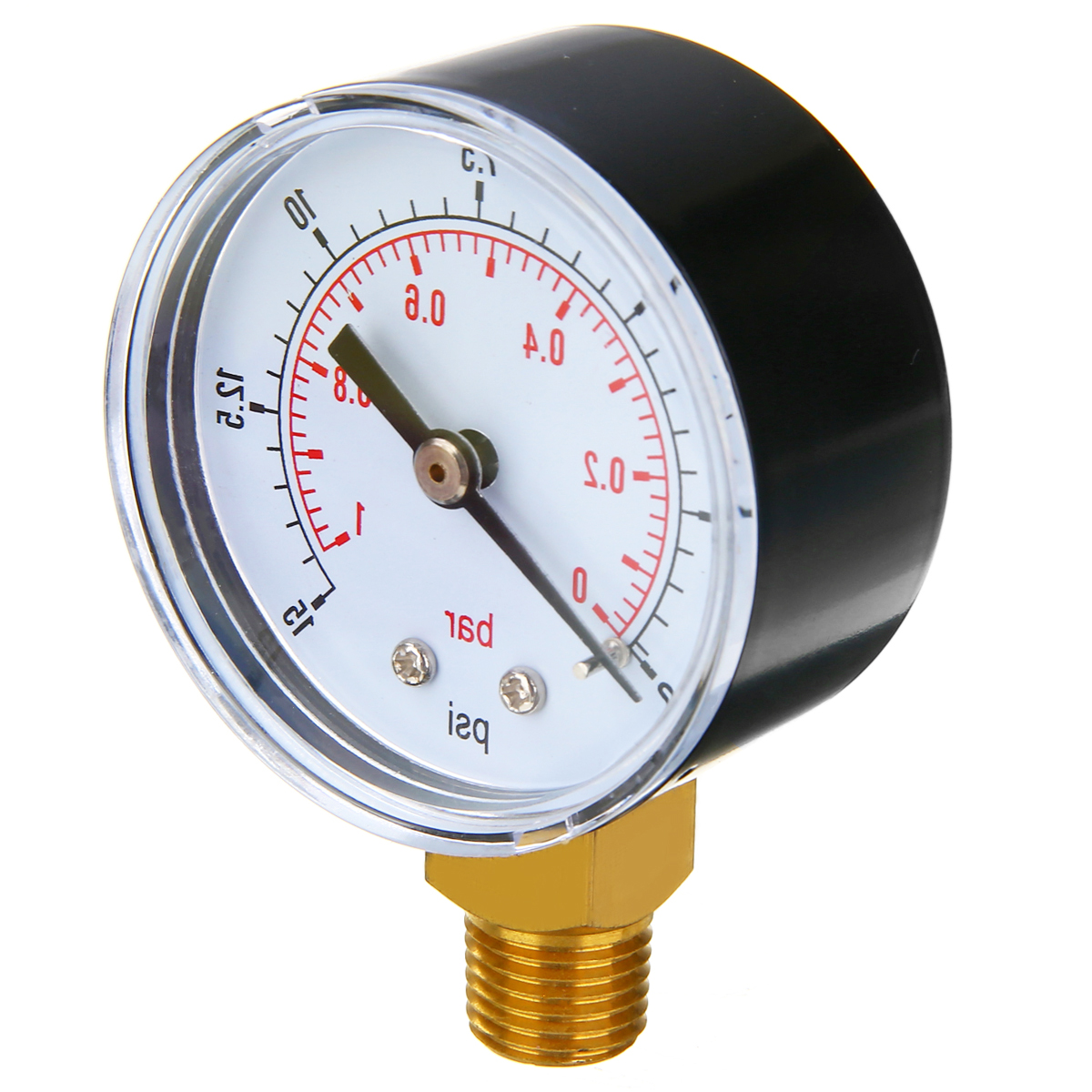 1pc 1/4 BSPT Low Pressure Gauge 50mm 0-15 PSI 0-1 Bar For Fuel Air Oil Gas Water