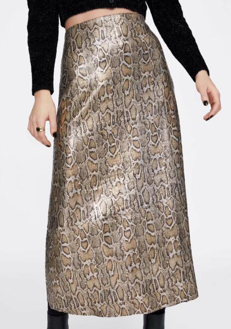 Autumn and Winter Snake Print Long Skirt Sequined High Waist Skirt Lady Fashion Streetwear 2