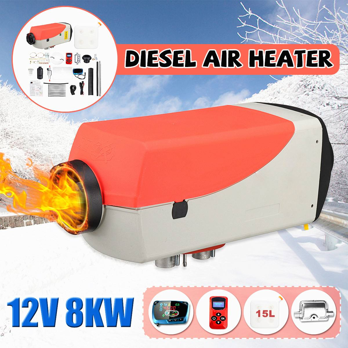 8000W 12V Diesel Air Heater Kit with Muffler <font><b>15L</b></font> <font><b>Tank</b></font> Car Parking Diesel Heater LCD Dynamic Thermostat Remote Control image