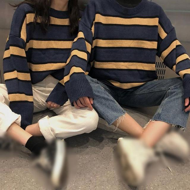 685be20d52 Autumn Winter Couple Striped Knitted Sweaters Pullovers Korean Style Long  Sleeve Casual Crop Sweater Loose Jumpers