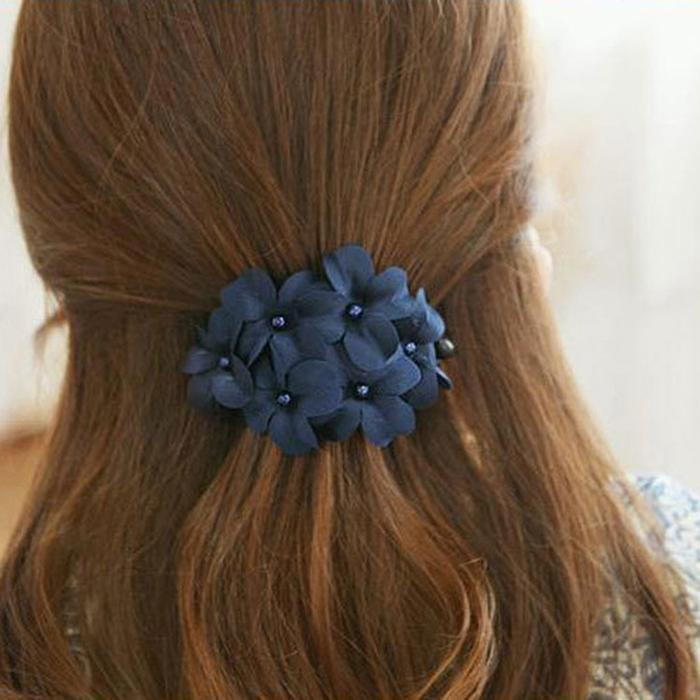 3 Colors Hair Clip Women Fashion Ponytail Hairpin Six Flowers Hair Clip Navy Blue Pink Black Hairpin Hair Style Tool