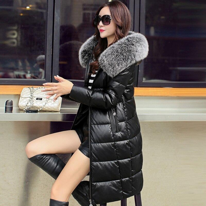 30 градусов Для женщин зимнее пальто из натуральной кожи женский пуховик белая утка вниз Для женщин верхняя одежда натуральным лисьим мехом