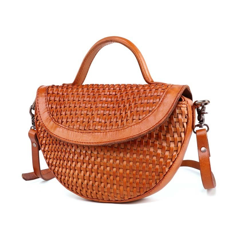 New Arrival Knitting Women Handbag Fashion Weave Shoulder Bag Small Casual Cross Body Bag Retro Totes in Top Handle Bags from Luggage Bags