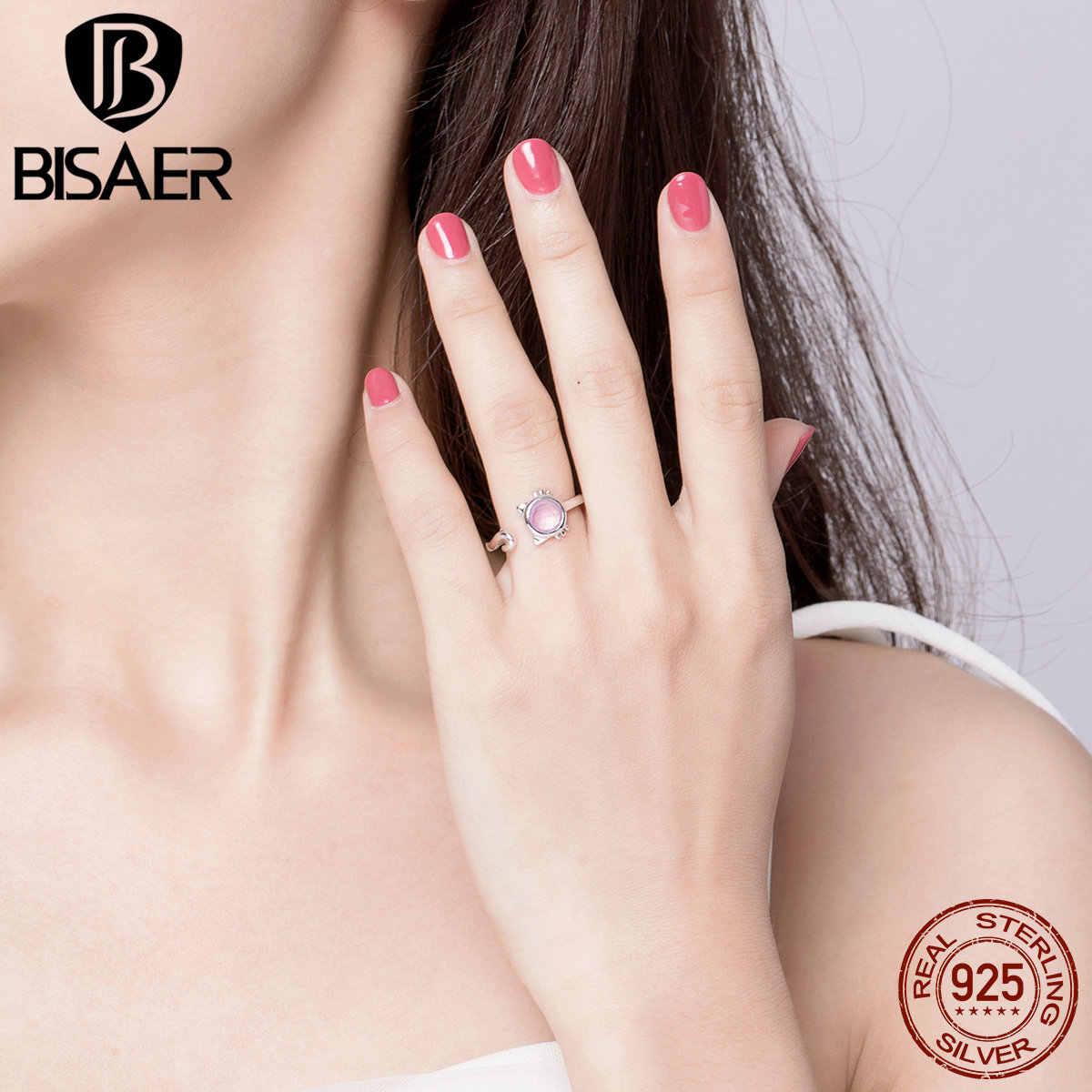 BISAER, 100%, 925 пробы, серебряное, розовое, стеклянный шар, милый котенок, регулируемые кольца на палец для женщин, девушек, модное ювелирное изделие 2019 GAR033