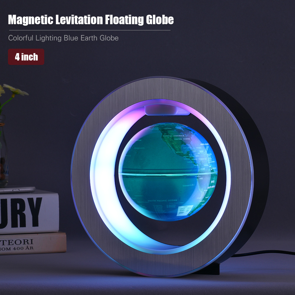 4 Inch Magnetic Levitation Floating Globe Colorful Lighting Blue Earth Globe with LED Color Light Circular