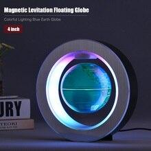 4 дюйма Магнитный левитационный Плавающий глобус цветной светильник ing Blue Earth Globe светодиодный светильник с круглой основой для украшения
