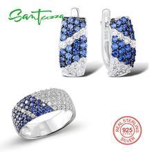 SANTUZZA תכשיטי סט לנשים טהור 925 סטרלינג כסף כחול לבן מעוקב Zirconia טבעת עגילי סט מעולה תכשיטים