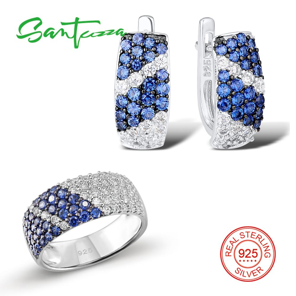 SANTUZZA Jewelry Set For Women Pure 925 Sterling Silver Blue White Cubic Zirconia Ring Earrings Set Exquisite Fashion Jewelry-in Jewelry Sets from Jewelry & Accessories
