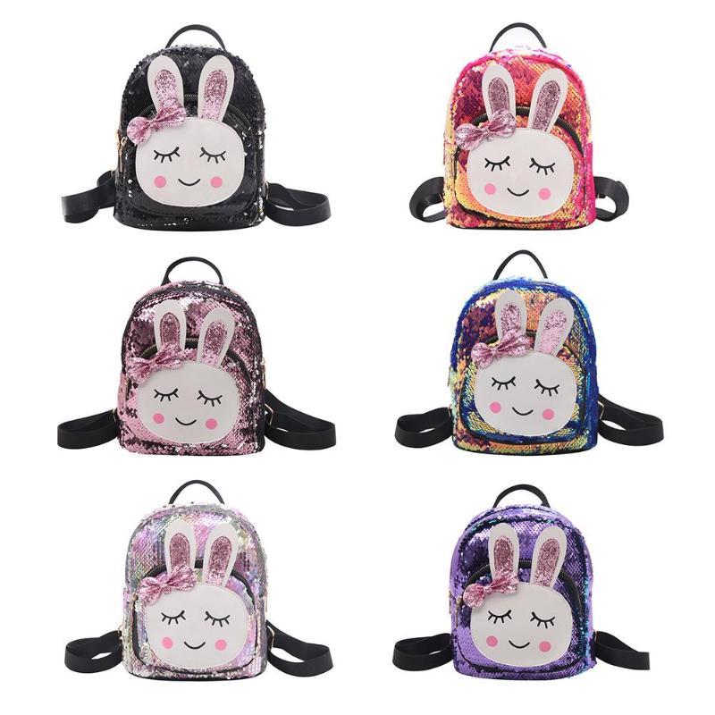 Mini Shining Sequins School Backpack Women Rabbit Ears Rucksack Cartoon Label Purse Zipper Shoulder with Small BagMini Shining Sequins School Backpack Women Rabbit Ears Rucksack Cartoon Label Purse Zipper Shoulder with Small Bag