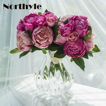 TZ136263 Floral Artificial Set 2pcs*Peony Camellia Bouquet* 1 Pcs Glass Vase Home Decoration Wedding Flowers