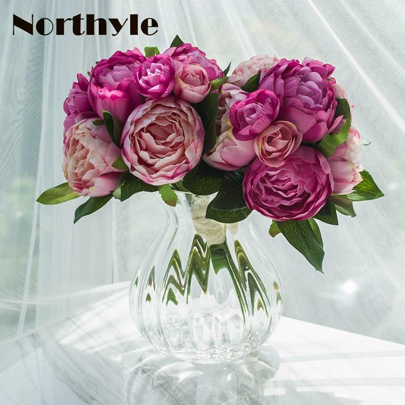 TZ136263 floral artificielle ensemble 2 pcs * Pivoine Camélia bouquet * 1 pcs vase en verre décoration de mariage fleurs