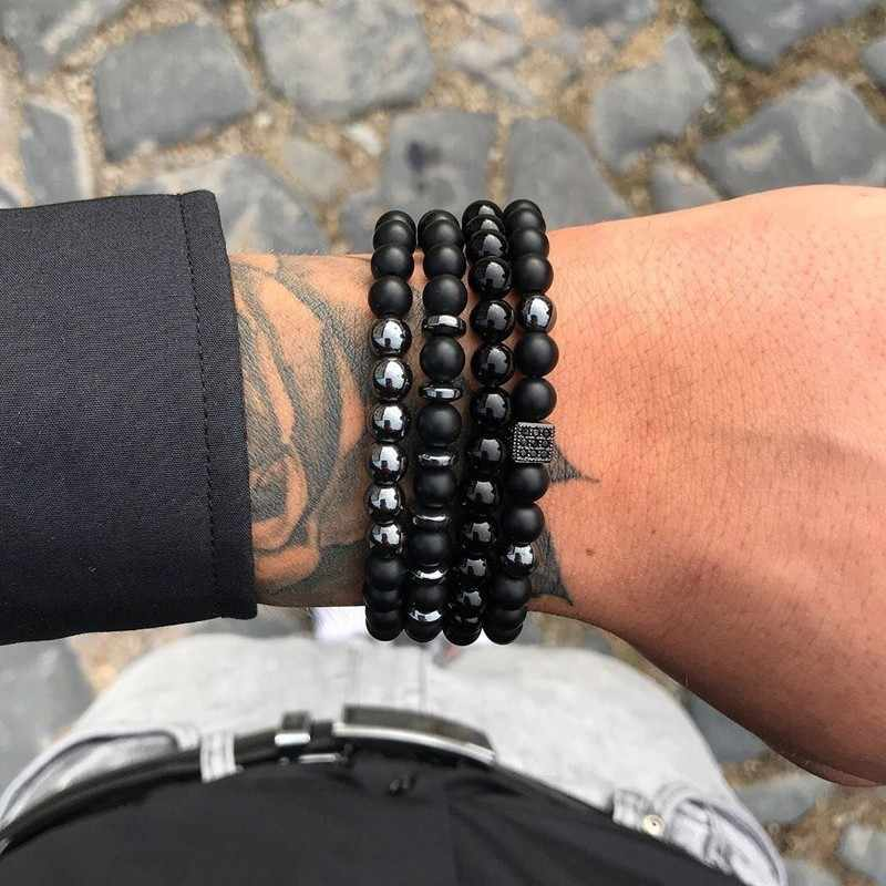 Fashion Luxury Charm Bracelet Men Natural Stone Handmade Beaded Bracelet & Bangles For Pulseira Masculina Feminina