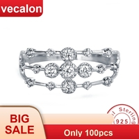 6309e86760c2 Vecalon Charm Joint Ring 100 Soild 925 Sterling Silver Sona 5A Zircon Cz  Engagement Wedding Band