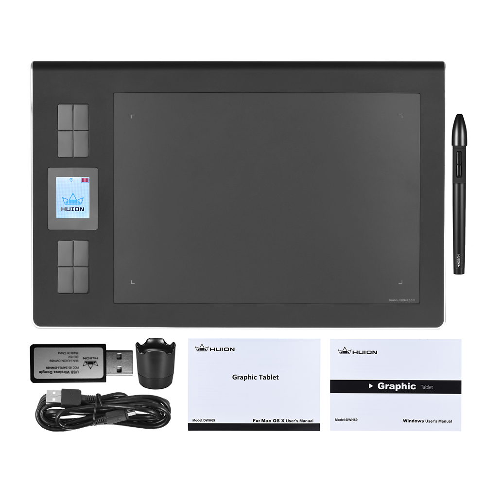 HUION DWH69 Portable sans fil/filaire dessin graphique tablette 9