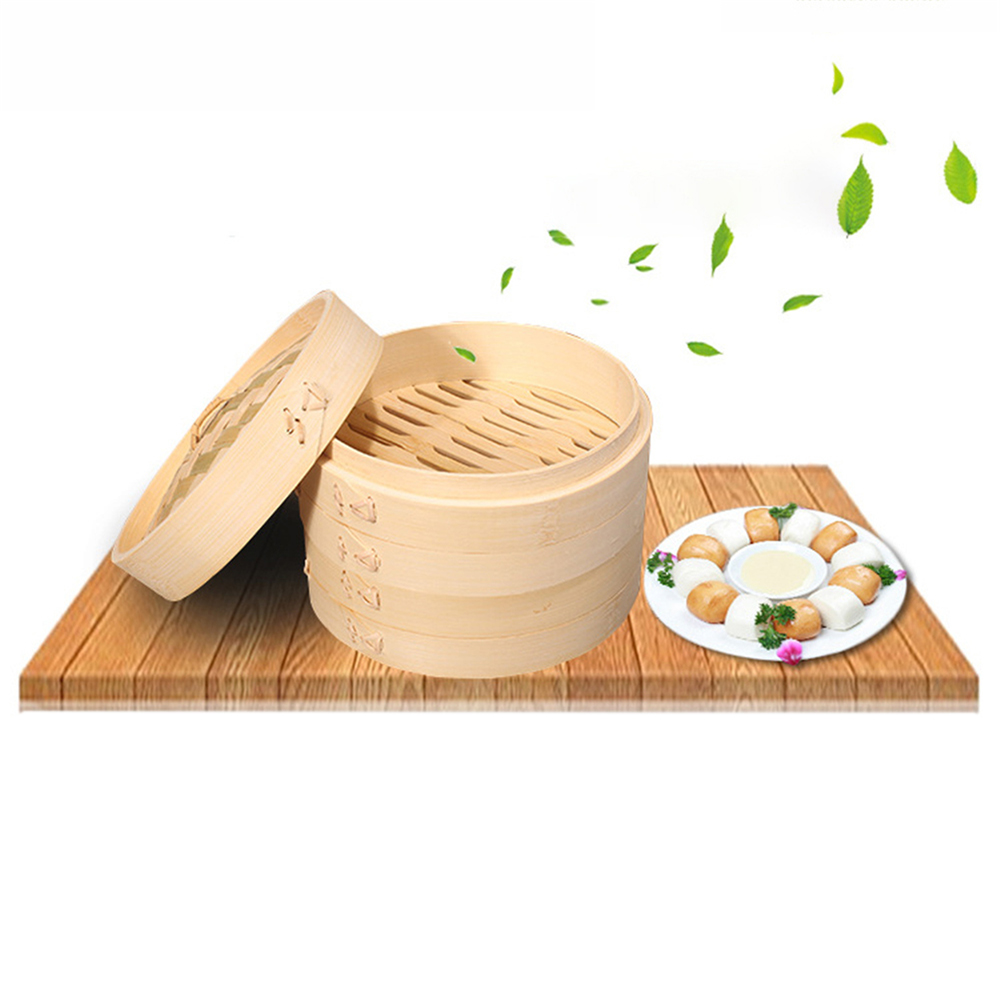 2019 Bamboo Steamer Fish Rice Vegetable Snack Basket Set Kitchen Cooking Tools One Cage and One Cover Cooking