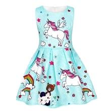 AmzBarley Kids Rainbow Unicorn Printed Dress Costume Girls Sleeveless Cosplay Birthday Party Fancy Dress Up Outfit цена и фото