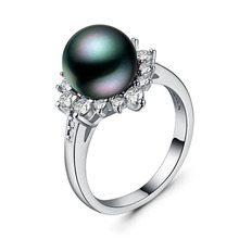 925 silver jewelry treasure ring Indian Valentines Day Zircon couple pearls rings Luxury stone vintage black pearlB894