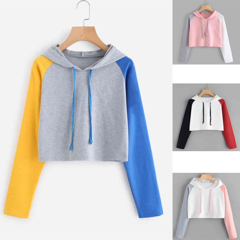 Women Casual Crop Top Hooded Hoodies Sweatshirt Autumn Colorful Patchwork Long Sleeve Checkerboard Pullover Sweat Shirts in Hoodies amp Sweatshirts from Women 39 s Clothing